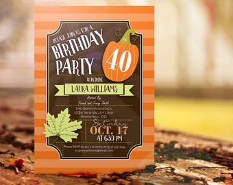 Fall Birthday Party Invitation - Personalized Printable DIGITAL FILE - Autumn themed invite