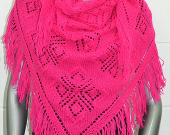 Traditional Haapsalu Shawl Lace Hand Knitted Triangular Estonian Lacy Fringe Wool Scarf Wrap