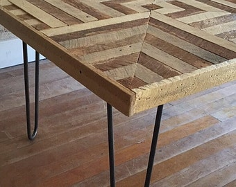 Reclaimed Wood Coffee table, Hairpin Legs, Lath, Geometric, Pattern Design, 3D Optical Illusion, 2' x 4'
