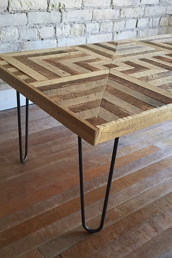 table wood coffee reclaimed geometric optical pattern illusion legs 3d lath madera etsy hairpin por con il eleventy studio vendido
