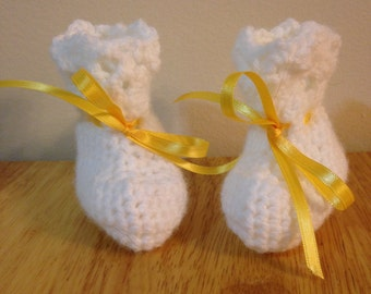 White and Yellow Baby Booties