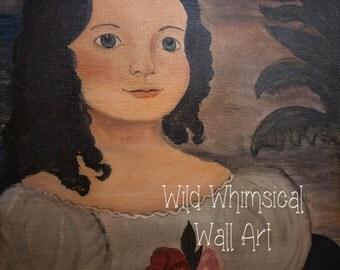 American Folk Art - Mounted Print -  Little Lady - Print of Acrylic on Canvas Folk Art Painting  8X10 - 11X14 - 16X20 - Folk Art Portrait
