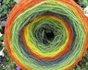 100 g. autumn Kauni yarn  for hand and machine knitting. dk 2ply. Self-Striping Yarn,Made in ESTONIJA