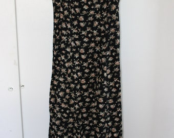 Vintage 90s Rabbit Jr Small Floral Shift Summer Dress Spaghetti Strap Mid Calf Length