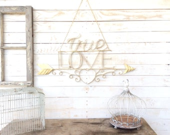 "Iron ""True Love"" Sign, Home Decor, Wedding Decor, Wall Art, For The Home, Arrow Art, Customize"
