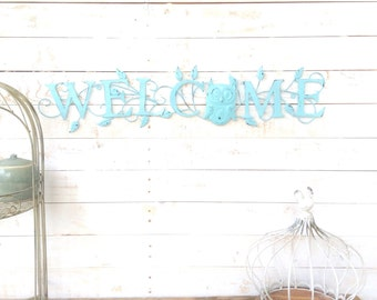 "Iron ""Welcome"" Sign, Owl Home Decor, For The Home, Front Porch, Wall Art, Customize"