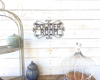"Iron ""Powder Room"" Sign, Bathroom Decor,  Home Decor, For The Home, Customize"
