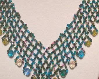 "Handbeaded necklace ""Oriental"" style multicolor"
