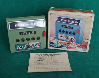 Vtg Draw Poker 1971 Automatic Poker Machine in Original Box by Waco