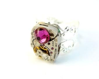 Steampunk Ring Clockwork Mechanism With Purple Rose Crystal