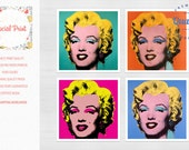 Marilyn Monroe, Set of 4 canvas prints for the price of 2! Andy Warhol Canvas art Pop Art Canvas Fine Art Giclee, modern art, monroe canvas