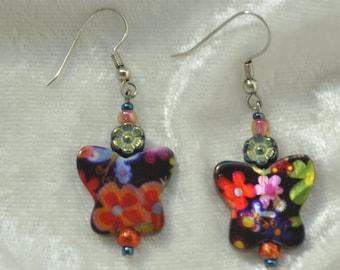 Black Butterfly Daisy Earrings - 003
