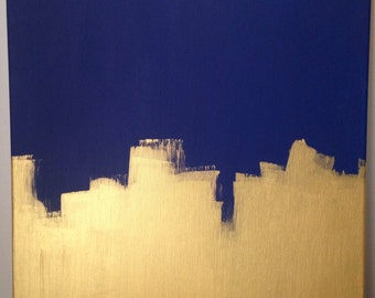 Navy and Gold Color Block Canvas Art
