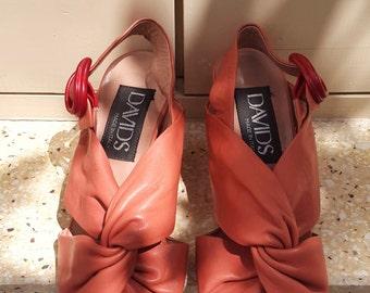 Vintage Peach Block Heel Sandals