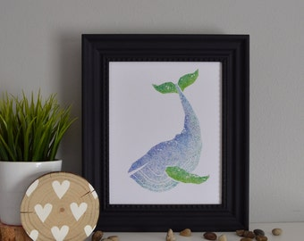 Blue Whale Stippled Watercolor Painting 8x10 Print