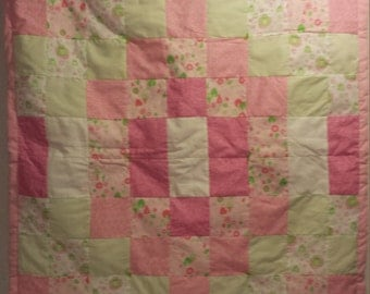 Pink Baby Girl Crib Quilt