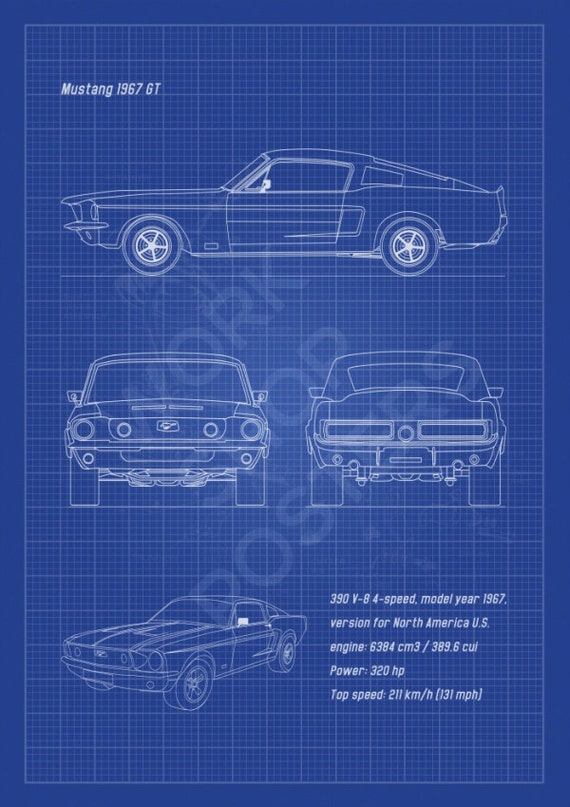 Mustang 1967 gt fastback vertical blueprint poster black like this item malvernweather Gallery