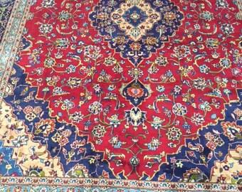 10' x 13' 1980 Persian Kashan Oriental Rug - Hand Made - Full Pile - 100% Wool - Vintage