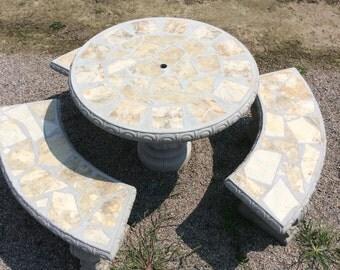 Patio Table, Patio Set, Outdoor Tabe Set, Round Concrete Table Set, Tile