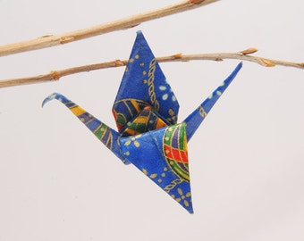 """Origami """"Blue Crane to the colorful balloons""""-brooch"""