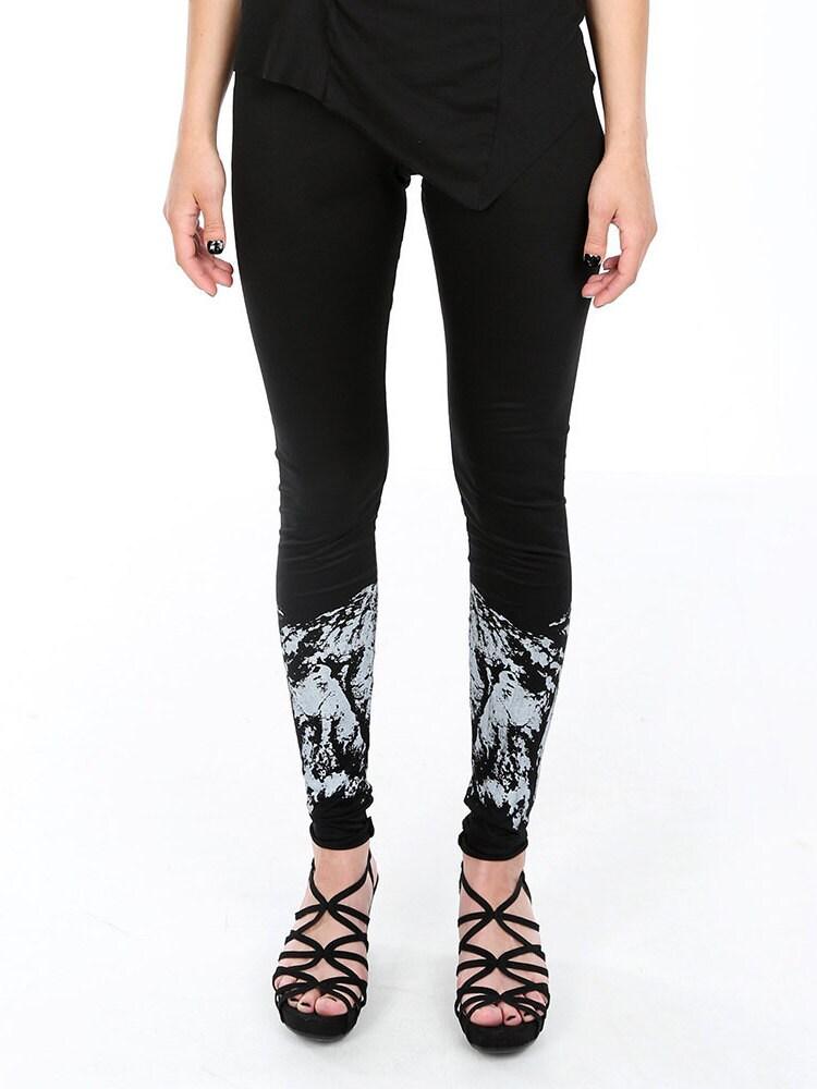 Black screen printed leggings darkwear avantgarde pants