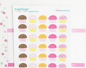 30 cute Cupcake planner stickers, classic style, hand drawn, play date, birthday, event, diary, reminders, family time, appointment, CCK1