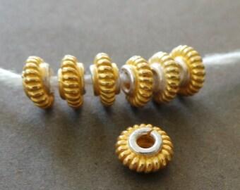 Matte Gold Vermeil Flat Round Disk Beads Spacer Beads