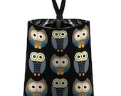 Car Trash Bag // Auto Trash Bag // Car Accessories // Car Litter Bag // Car Garbage Bag - Owls - Midnight black blue grey // Car Organizer