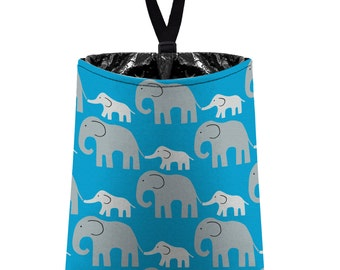 Car Trash Bag // Auto Trash Bag // Car Accessories // Car Litter Bag // Car Garbage Bag - Elephants (grey on turquoise) // Car Organizer