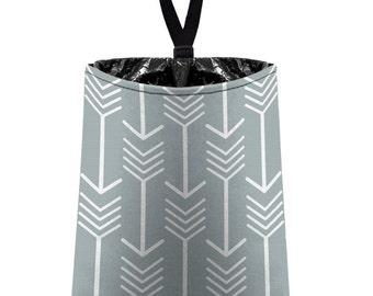 Car Trash Bag // Auto Trash Bag // Car Accessories // Car Litter Bag // Car Garbage Bag - Arrows (light grey silver white) // Car Organizer