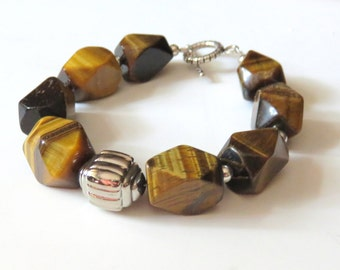 Chunky Tiger Eye Beaded Bracelet,Brown Gemstones, Sterling Silver Toggle Clasp, Southwestern Tiger Eye Jewelry, Large Beaded Fashion Jewelry