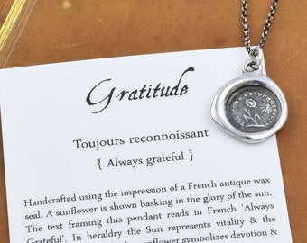 Gratitude - Sunflower Wax Seal Necklace - 335