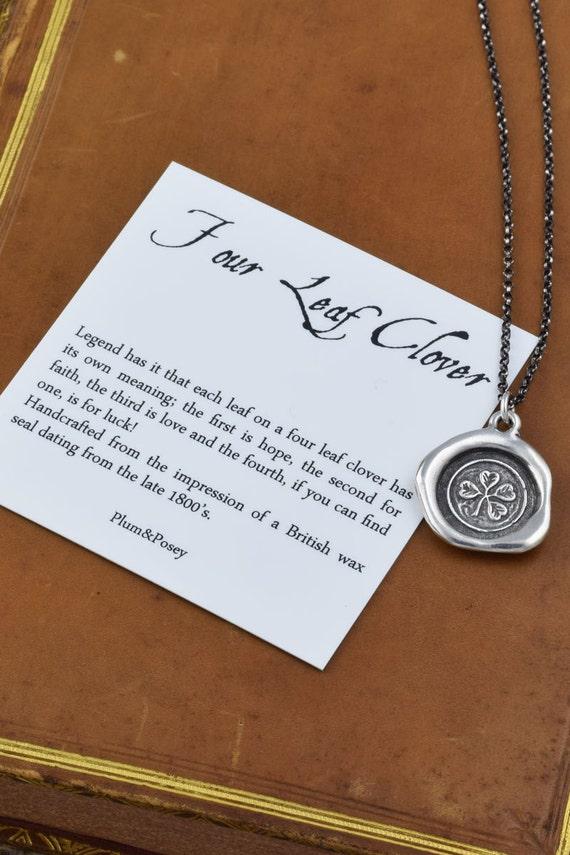 Four Leaf Clover Necklace - Lucky lucky lucky wax seal shamrock pendant - 299