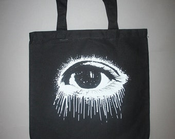 Eye tote, eye, Eye tote bag, black bag, white eye, screenprinted bag, boho, bohemian black white canvas tote, Eye black bag