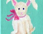 White Bunny Rabbit mini painting original, Mini Canvas with Easel, little artwork, acrylic painting canvas art of white bunny rabbit 3 x 3
