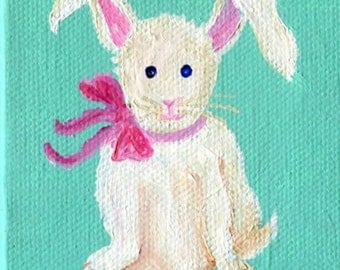 White Bunny Rabbit mini painting original, Mini Canvas with Easel, little artwork, acrylic painting canvas art of white bunny rabbit