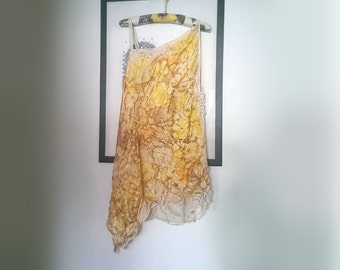 Silk Tunic Dress,Yellow, Long Top, Overdress, Vintage Lace, Recycled, Cream, White, Mustard, Boho Dress, Rustic, Romantic Clothing