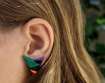 Vintage Earrings Womens Stud Earrings 1980s Plastic Earrings Colorful New Wave Studs 80s Vintage Jewelry Painted Earrings