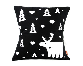Black Moose Pillow 13 Inches Square
