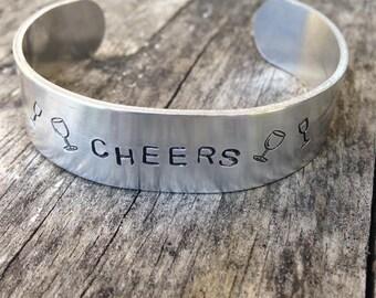 CHEERS aluminum cuff bracelet