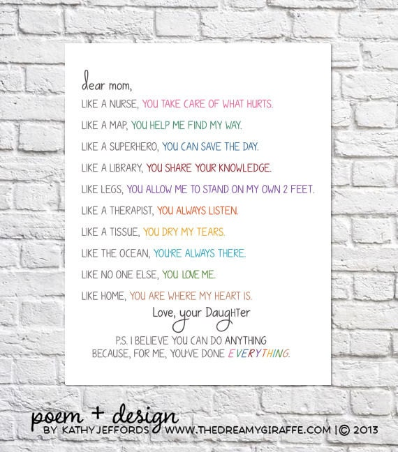 This Would Be Cute To Change Into The Welcome Letter To: Personalized Gift For Mom From Daughter To Mother Birthday