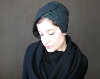Womens winter hat, emerald green cloche, brimmed hat, modern millinery, neoprene windproof hat, high fashion hat, unique hat : Plot Twist