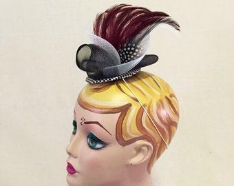 Burgundy, White, & Black Fascinator - Wedding, Evening, Races, Special Occasion Headpiece