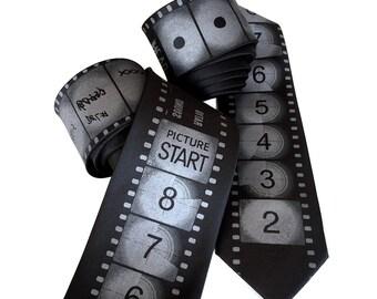 Movie Film tie. Academy Film Leader necktie. Director, producer, film student, actor gift. Black tie. Countdown Film Noir edition.