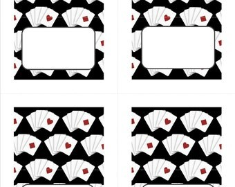 Casino Party Place Cards Food Labels Escort Cards