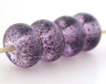 Lampwork Glass Bead Set ROYAL REFLECTIONS - TANERES sra crystal clear purple