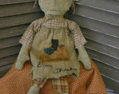 VERY Primitive, Fall, Raggedy Ann, Thanksgiving, Autumn, November, Turkey, Team HaHa, Hafair, Worn, Torn, Old Rag Doll, Cloth Doll, Doll by