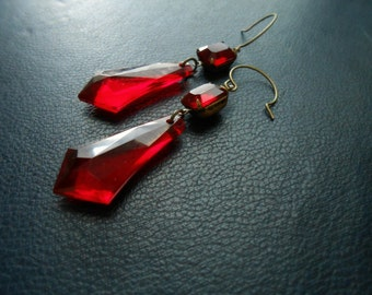 reserved - blood reign - vintage ruby red rhinestone and large drop earrings - goth vampire bathory inspired jewelry