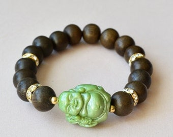 Jade Green Traveling Buddha Lucite and Grey Wood Bracelet, Lucite and Wood Stretch Bracelet, Boho Chic, Stacking Bracelets