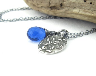 Sapphire Necklace Blue Necklace Silver Charm Necklace Sterling Silver Necklace Blue Gemstone Necklace Bohemian Jewelry Charm Jewelry - Solo